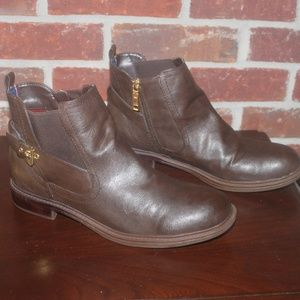 Tommy Hilfiger brown leather ankle boots buckle 10
